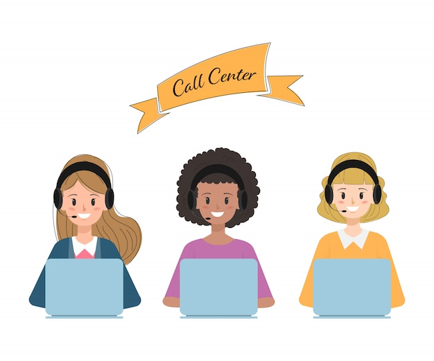 Betreiber des call centers und des kundendienstes. Premium Vektoren