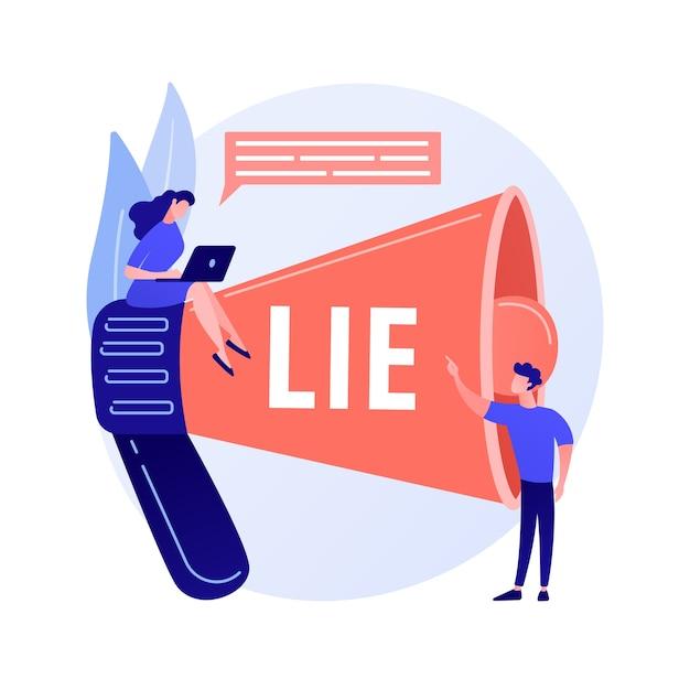 Betrügerischer mann, der lügen erzählt. menschen mit megaphon belasten lügner mit betrug. gefälschte informationen verbreiten sich, betrugsvorwürfe, unehrliche person. vektor isolierte konzeptmetapherillustration Kostenlosen Vektoren