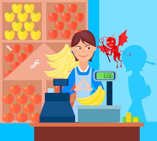 Betrug markthandel hintergrund mit flachen obsthändler und teufel zeichen auf dem markt mit waagen Kostenlosen Vektoren