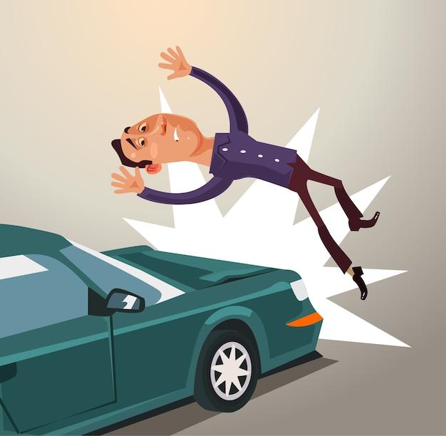 Betrunkener fahrer schlug mann mit dem auto. verkehrsunfallkonzept. Premium Vektoren