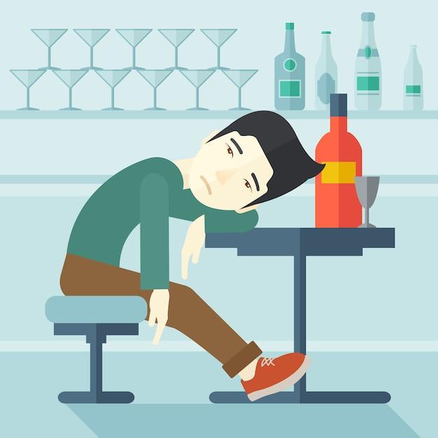 Betrunkener mann schlafen in der kneipe ein. Premium Vektoren