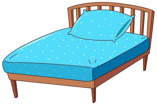 Bett mit blauem kissen und blatt Kostenlosen Vektoren
