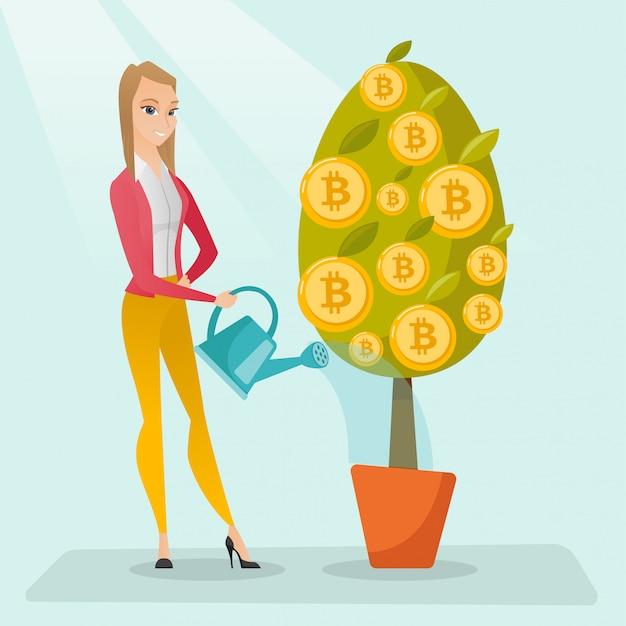 Bewässerungsbaum der geschäftsfrau mit bitcoin münzen. Premium Vektoren