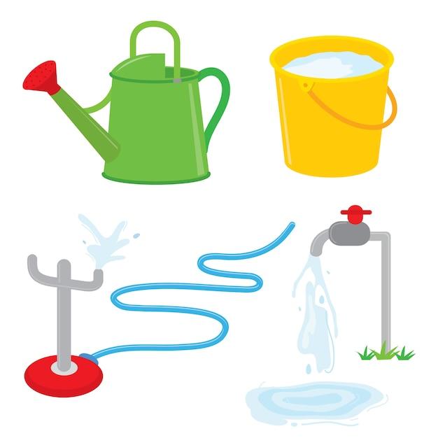 Bewässerungsdosen-hahnwasser der gartenausrüstung kann vektor besprühen Premium Vektoren