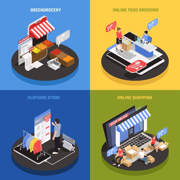 Bewegliche einkaufskonzeptikonen stellten mit den isometrischen lokalisierten on-line-lebensmittelbestellungssymbolen ein Kostenlosen Vektoren