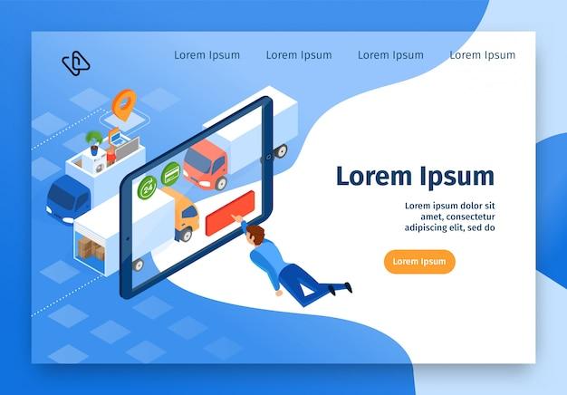 Bewegliche firma online services vector web banner Premium Vektoren