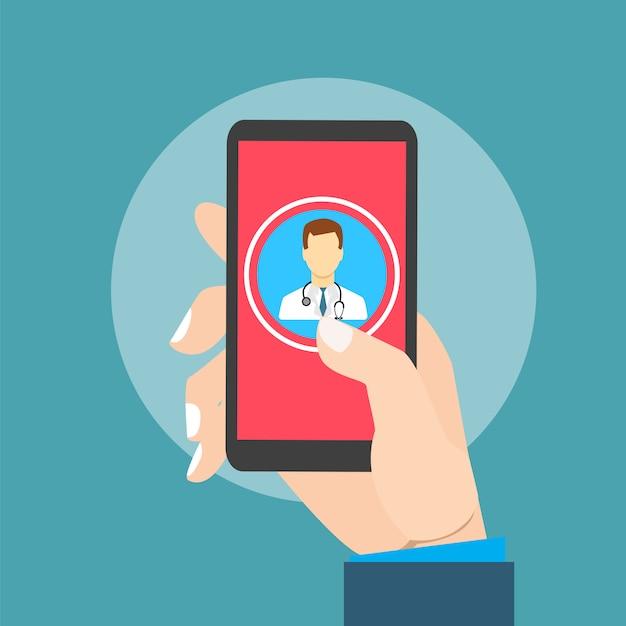 Bewegliche gesundheit mit der handhand, die smartphone hält Premium Vektoren