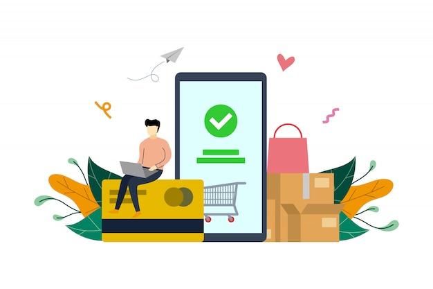 Bewegliche zahlung, e-commerce-markt, der flache illustrationsschablone der online-zahlung kauft Premium Vektoren