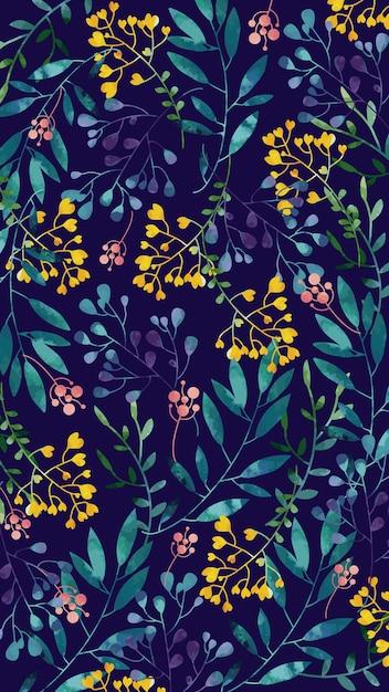 Beweglicher hintergrund mit gelben aquarellblumen Kostenlosen Vektoren
