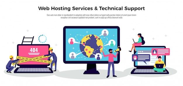 Bewegliches anwendungsplakat mit flacher illustration der webhosting-servicesymbole Kostenlosen Vektoren