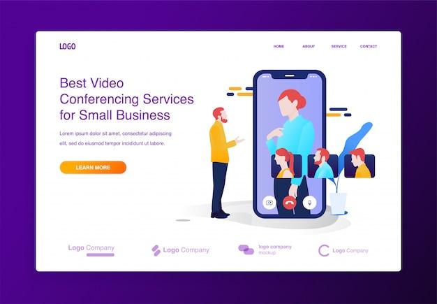 Bewegliches videokonferenzillustrationskonzept für website oder landungsseite Premium Vektoren