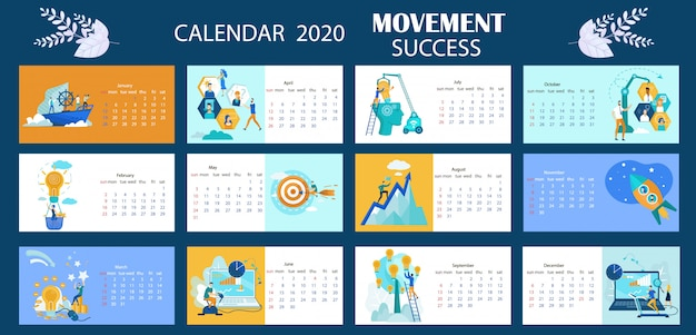 Bewegung des kalender-2020 succes, die karikatur beschriftet. Premium Vektoren