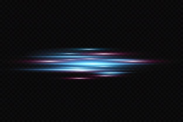 Bewegungslichteffekt für banner. blaue linien. der effekt der geschwindigkeit auf einem blauen hintergrund. rote linien von licht, geschwindigkeit und bewegung. linseneffekt. Premium Vektoren