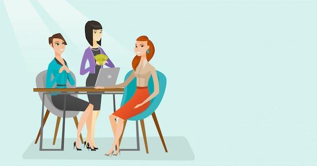 Bewerber mit bewerbungsgespräch für die stelle. Premium Vektoren