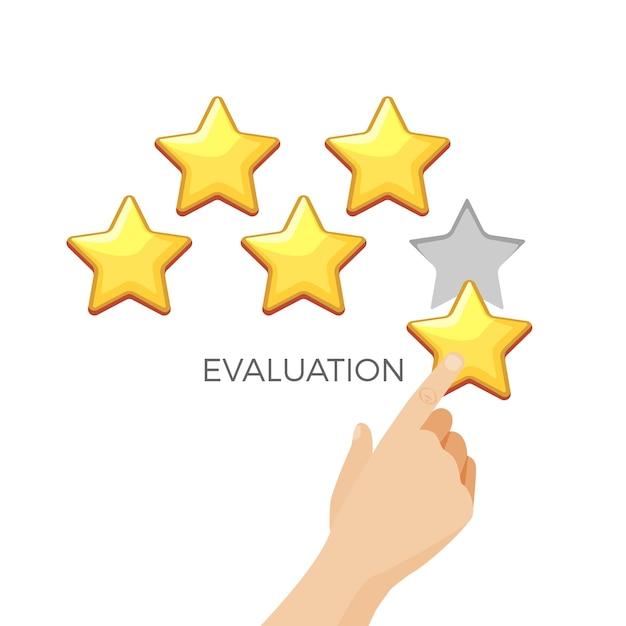 Bewertung im goldglänzenden stern-werbeplakat mit menschlicher hand. schätzung von eins bis fünf punkten. mann gibt note für erhaltene dienste. Premium Vektoren