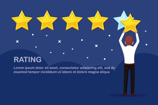 Bewertung in sternen. kundenfeedback, kundenbewertung. umfrage für marketingdienstleistungen Premium Vektoren