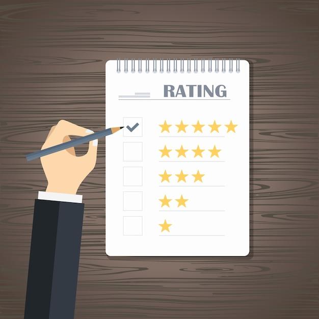 Bewertung und bewertung von website-bewertungen Kostenlosen Vektoren