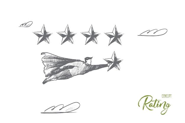 Bewertungskonzept. handgezeichneter superheld mit 5. stern, was sieg und bestes ergebnis bedeutet. fliegender mann hält bewertungsstern isolierte illustration. Premium Vektoren