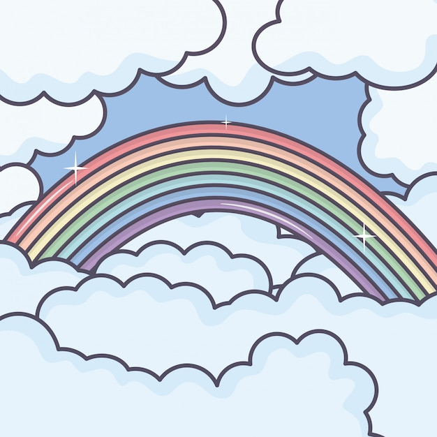 Bewölkt himmel mit regenbogenwetter Kostenlosen Vektoren
