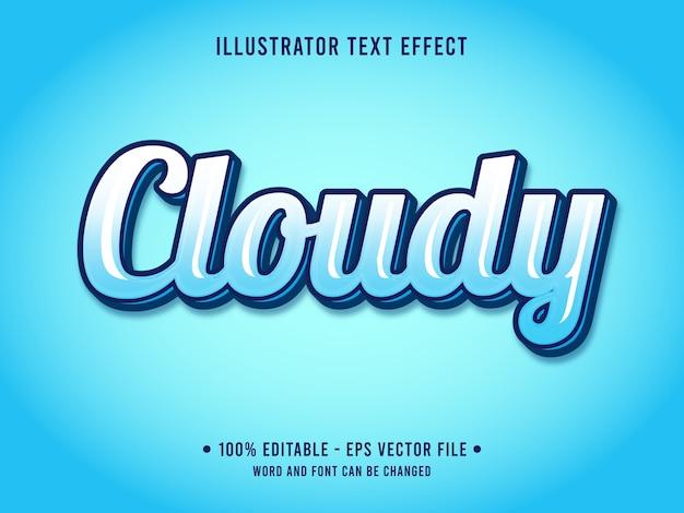 Bewölkter bearbeitbarer texteffekt-geleestil mit blauer farbverlaufsfarbe Premium Vektoren