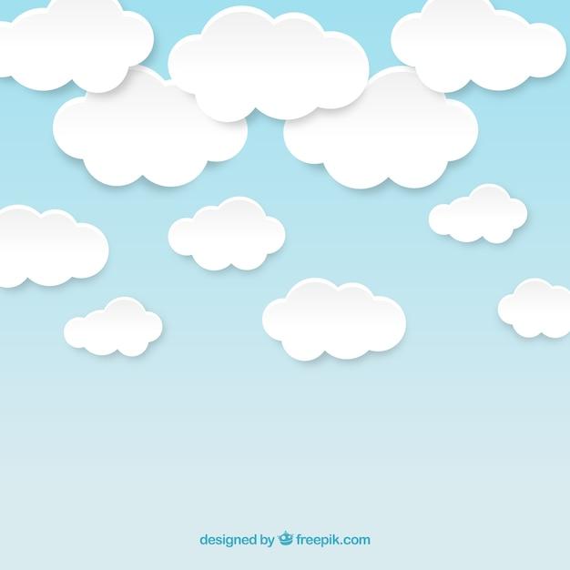Bewölkter himmel in der papierart Kostenlosen Vektoren