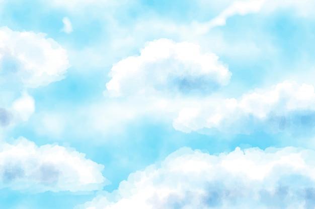 Bewölkter hintergrund des blauen himmels des blauen aquarells Premium Vektoren