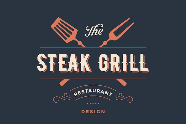 Bezeichnung steak grill restaurant Premium Vektoren