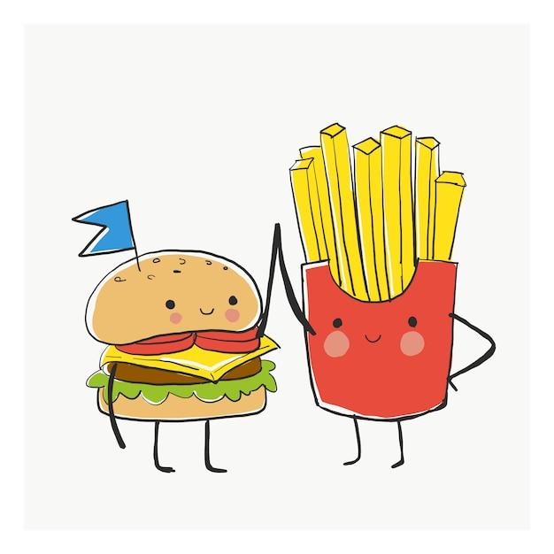 Bff bester freund burger and fries Premium Vektoren