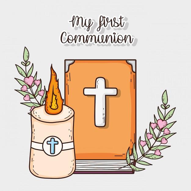 Bibel mit kerze und kreuz zur erstkommunion Premium Vektoren
