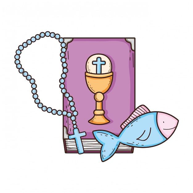 Bibelbuch mit rosenkranz Premium Vektoren