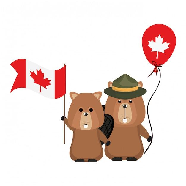 Biberwaldtier von kanada Kostenlosen Vektoren