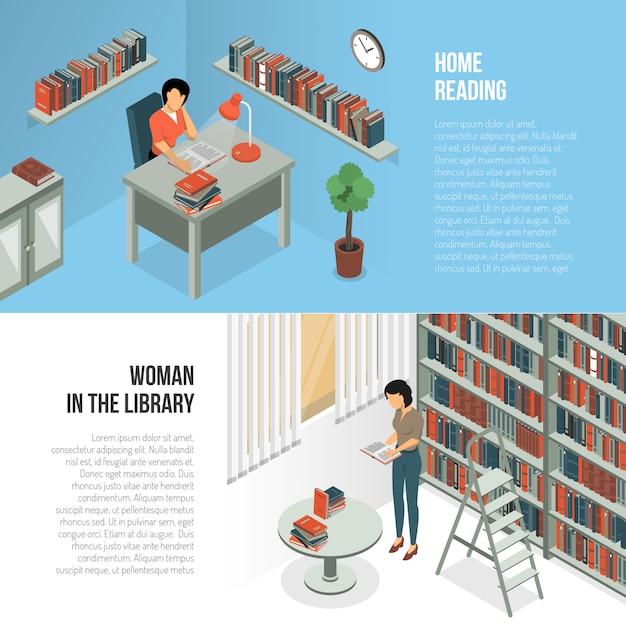 Bibliothek stunden banner set Kostenlosen Vektoren