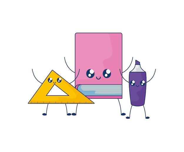 Bibliotheksbuch mit regel und textmarker kawaii art Premium Vektoren