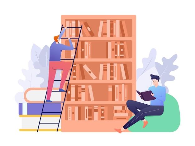 Bibliotheksillustration mit person, die buch liest und die andere suche nach buch als konzept. diese abbildung kann für website, zielseite, web, app und banner verwendet werden. Premium Vektoren