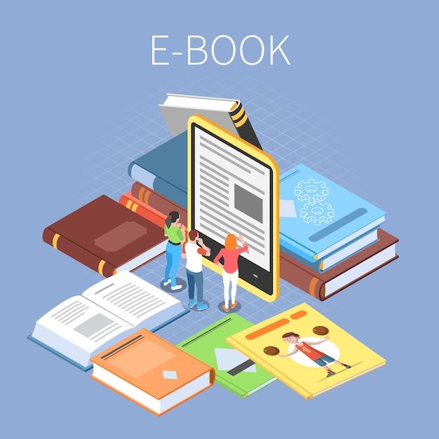 Bibliothekskonzept mit isometrischen online-lese- und e-book-symbolen Kostenlosen Vektoren