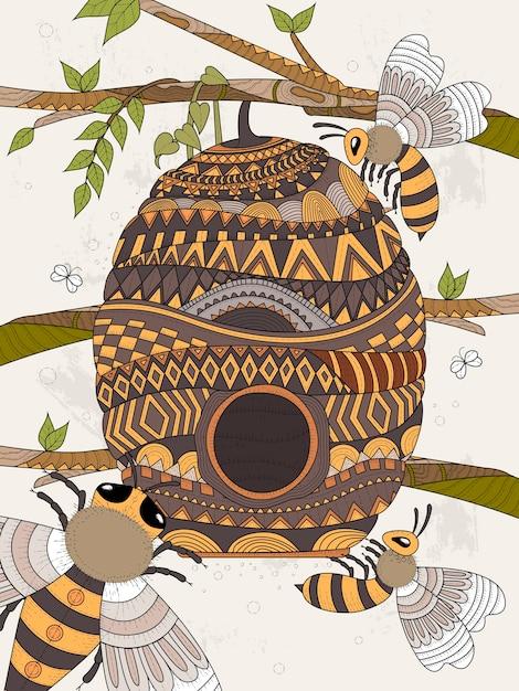 Biene fliegt um waben erwachsenen malvorlagen Premium Vektoren