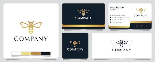 Biene, goldfarbe, banner, visitenkarte und logo-design Premium Vektoren