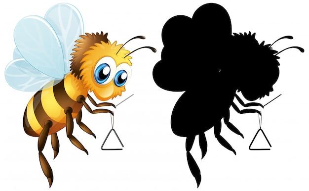 Biene mit dreieck-musikinstrument Kostenlosen Vektoren