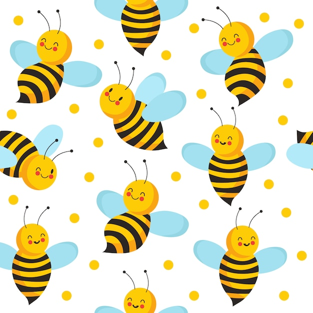 Biene nahtlose muster. niedliche fliegende bienen für honigprodukt. endloser bienenhaushintergrund des vektors Premium Vektoren