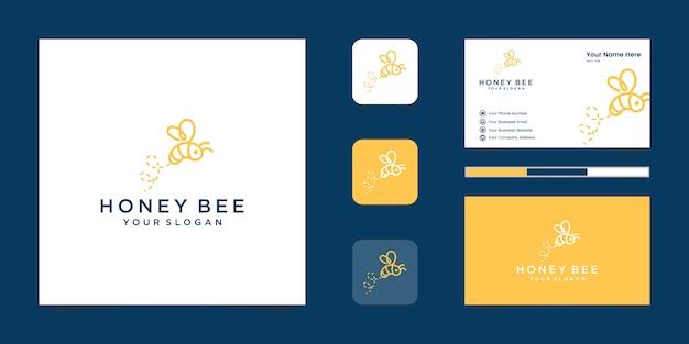 Bienehonig kreatives symbol symbol logo strichgrafik lineares logo. logo-design, symbol und visitenkarte Premium Vektoren
