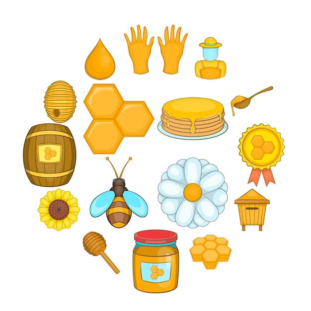Bienenhaus-icon-set, cartoon-stil Premium Vektoren