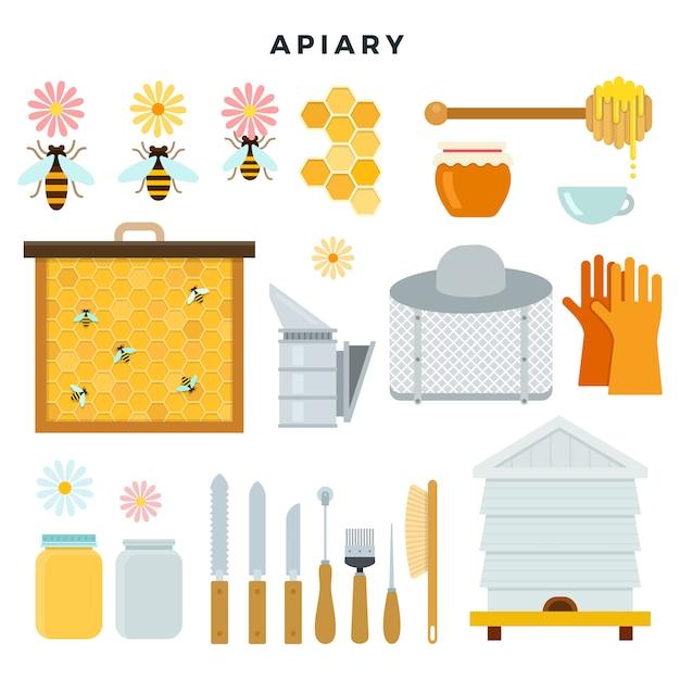 Bienenhauswerkzeuge und -ausrüstung, satz ikonen. alles für die imkerei. vektor-illustration im flachen stil. Premium Vektoren