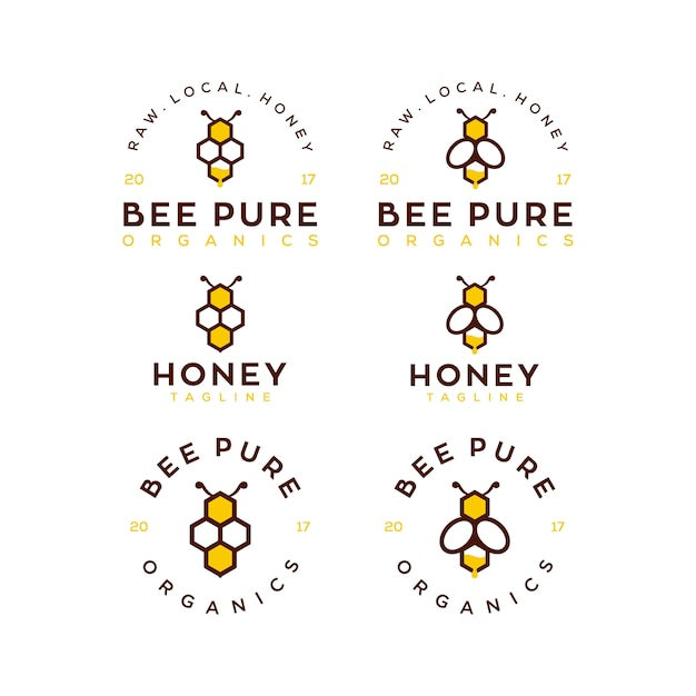 Bienenhonig-logo-schablonensatz Premium Vektoren