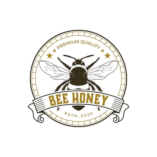Bienenhonig premium vintage logo vorlage Premium Vektoren