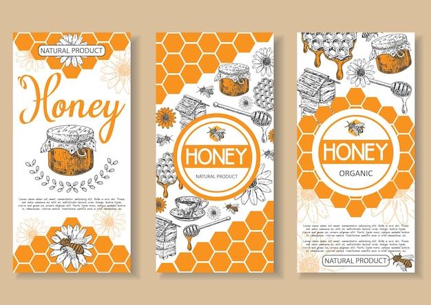 Bienenhonighonigplakat, flyer, fahnensatz. hand gezeichnete honig natürliche bio-produkt konzept design-elemente für honig business werbung. Premium Vektoren