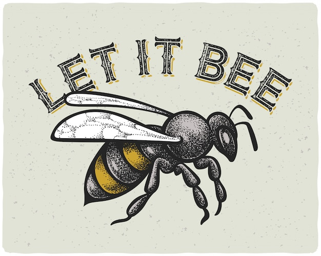 Bienenillustration mit text Kostenlosen Vektoren