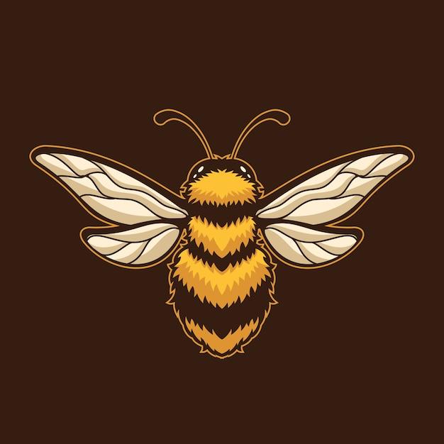 Bieneninsektenkarikaturlogoschablonenillustration. esport logo gaming Premium Vektoren