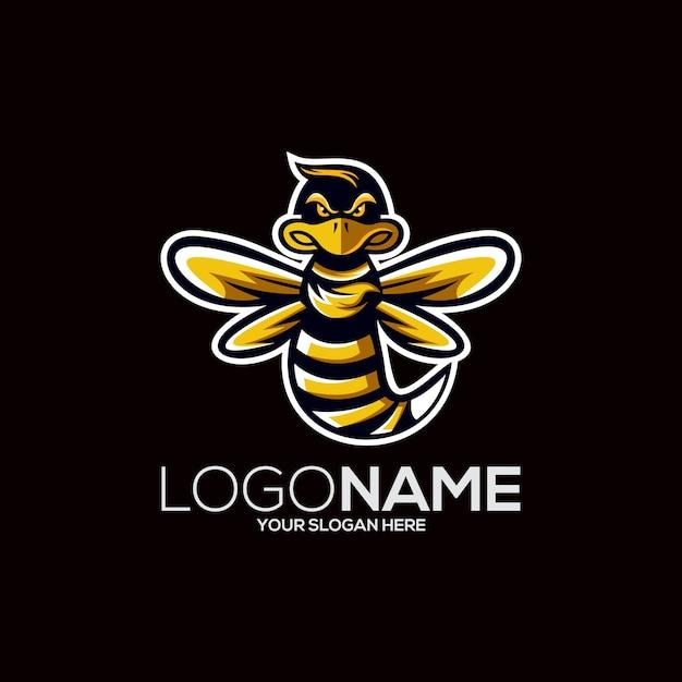 Bienenlogo design Premium Vektoren