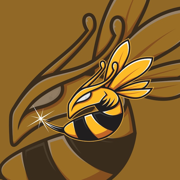 Bienenmaskottchen esport logo Premium Vektoren