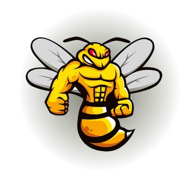 Bienenmaskottchen-logo-design Premium Vektoren